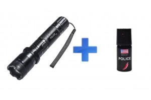 КОМПЛЕКТ: Электрошокер Шерхан 1101 Police + Газовый баллончик Police 40 ml