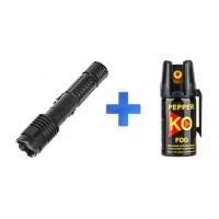КОМПЛЕКТ: Электрошокер BL-1103 ОСА + Газовый баллончик Pepper KO FOG 40 ml